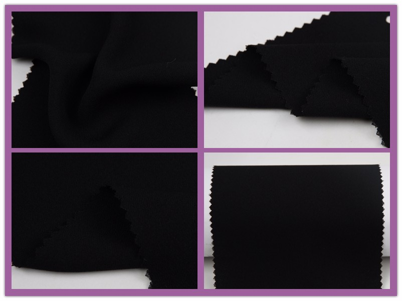 plain dyed faux silk black fake georgette fabric