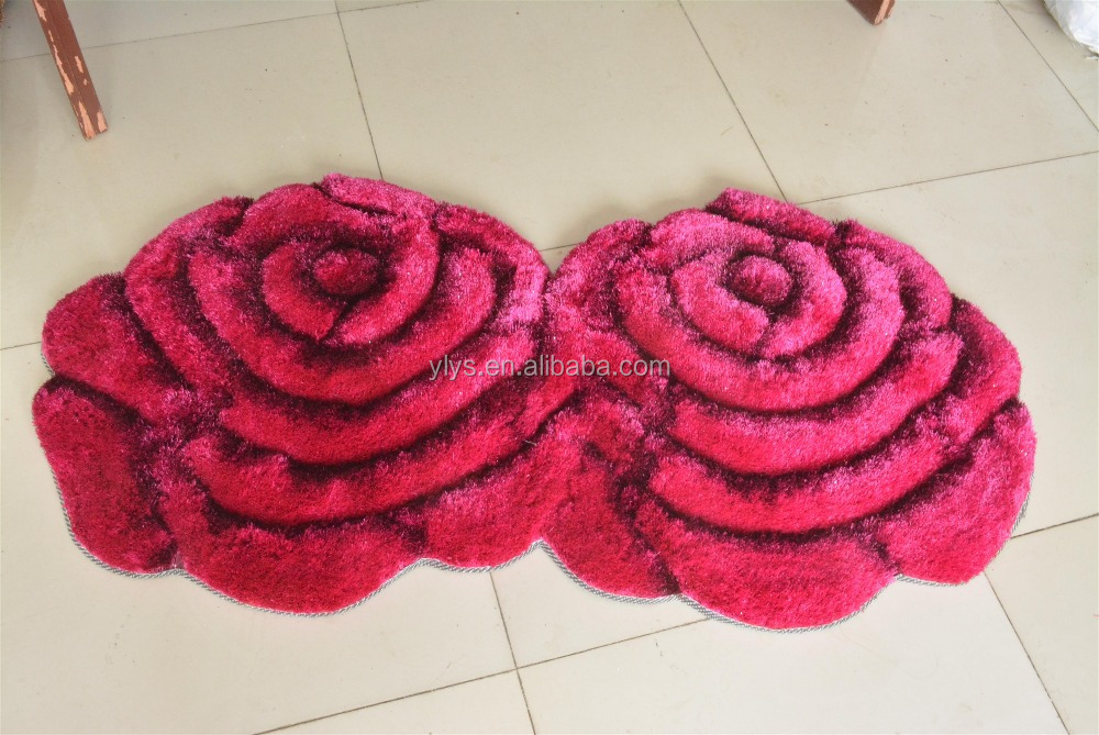 Colorful Big Flower Hand Tufted Latex Back Carpet