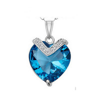 MOONSO Valentine Day Gifts Cupid Heart For Sea Pendant Silver 925 Necklace Fashion Jewelry AN5132