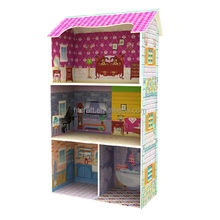 HT-DH011 51.5x26x(H)92.5cm Three Floors Paper Sticker Pattern Kids Wooden Dollhouse Miniature Furnitures, Interesting Doll House