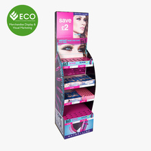 Low Price E Paper Makeup Hair Extension Cardboard Cosmetic Display Stand Shopping Mall Used