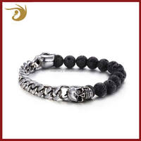 Unique Design China Factory 316l Stainless Steel Skull Jewelry Mens Lava Stone Bracelet