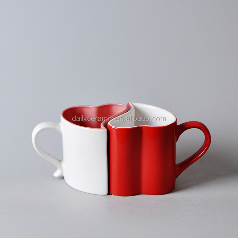275ml heart shape ceramic couple love mugs