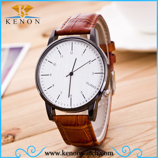 Simple design leather watch strap chrome brand your own watches