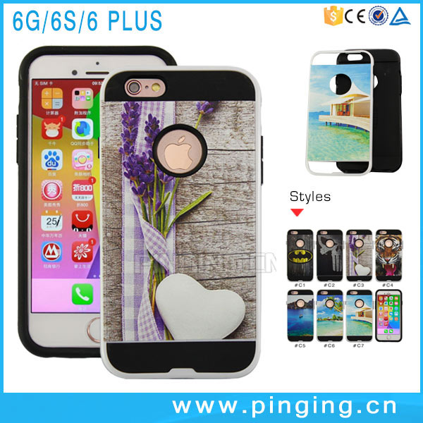 Multiple Pattern 3D Painted HairLine Armor Case For iPhone 6Plus Case