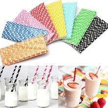 Colorful Polka Dot Paper Straws Drinking Straws Party Wedding Birthday Decor