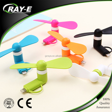 2016 Latest design 2 in 1 mini otg usb fan for Android iphone mobiles (android / iphone use)