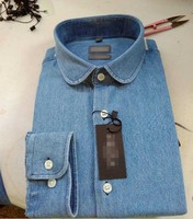 Denim club collar latest design mens casual dress shirts