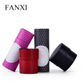 FANXI High Quality Custom Logo Leatherette Paper Earring Ring Boxes Black And Red Color Round Ring Box