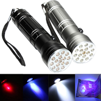15 LED Multifunctional 3 in 1 Torch UV LED & Red Laser Flashlight