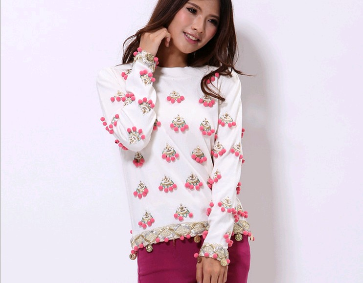 D90452L SILK HAND-EMBROIDERED WOMEN SWEATER