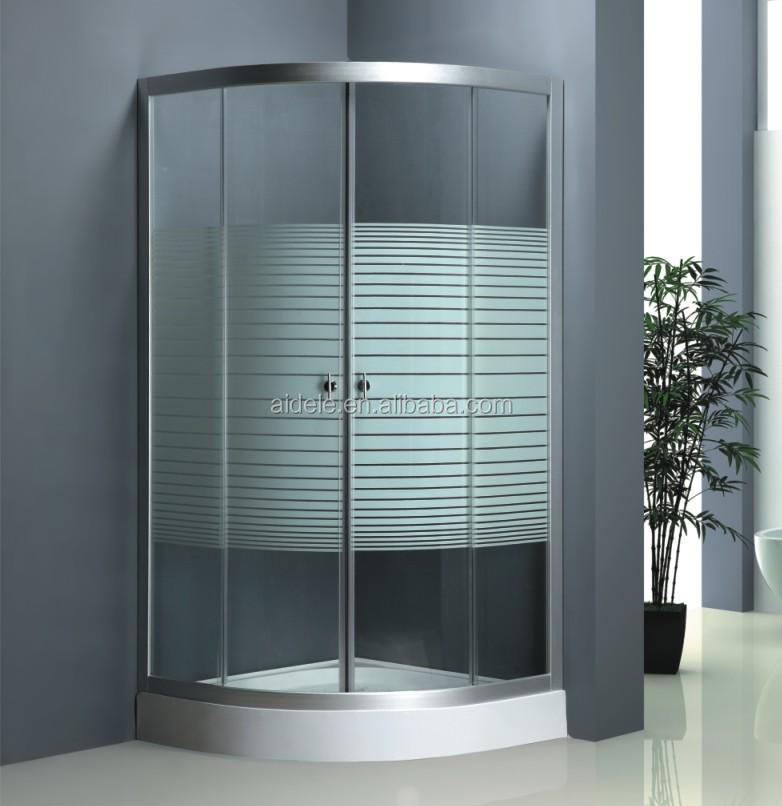 New type corner simple transparent fiberglass shower enclosure with tray