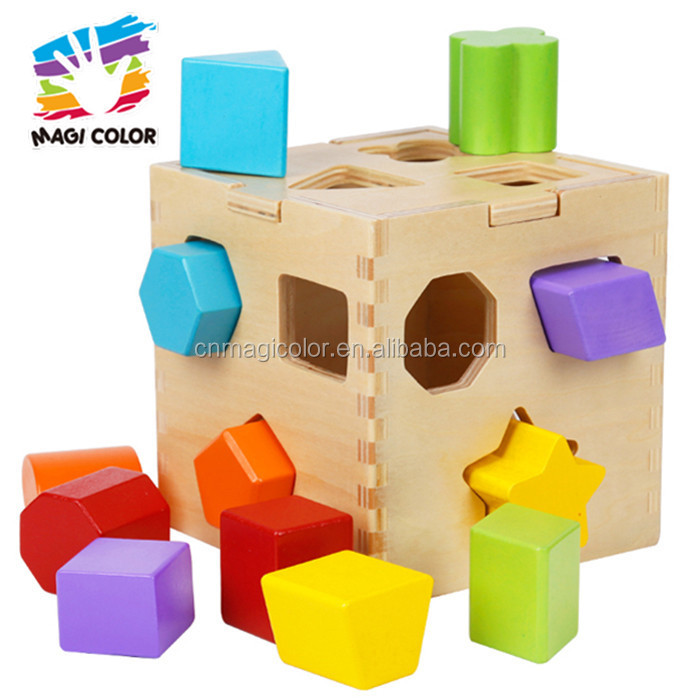 Wholesale cheap wooden multi shape blocks sorting box toy for toddler W12D017