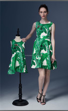 High fashion printed mother and daughter dress design sleeveless mother and daughter matching dresses
