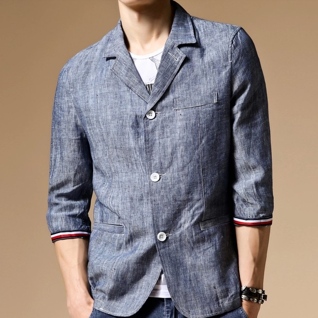 2014 Trendy Fashionable Man Three Button Summer Half Jean Jackets