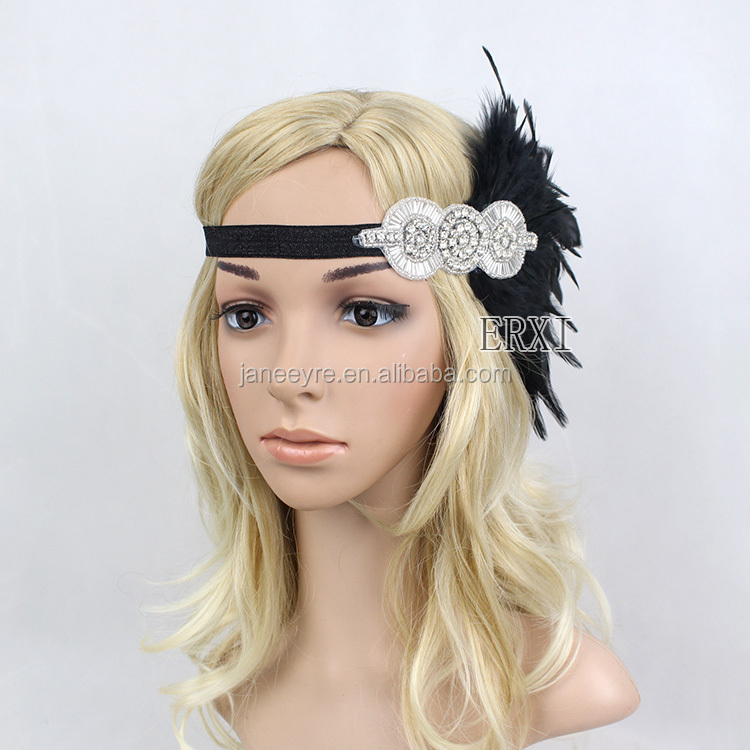 Halloween Feather Vintage Headpiece 1920s Great Feather Flapper Headband