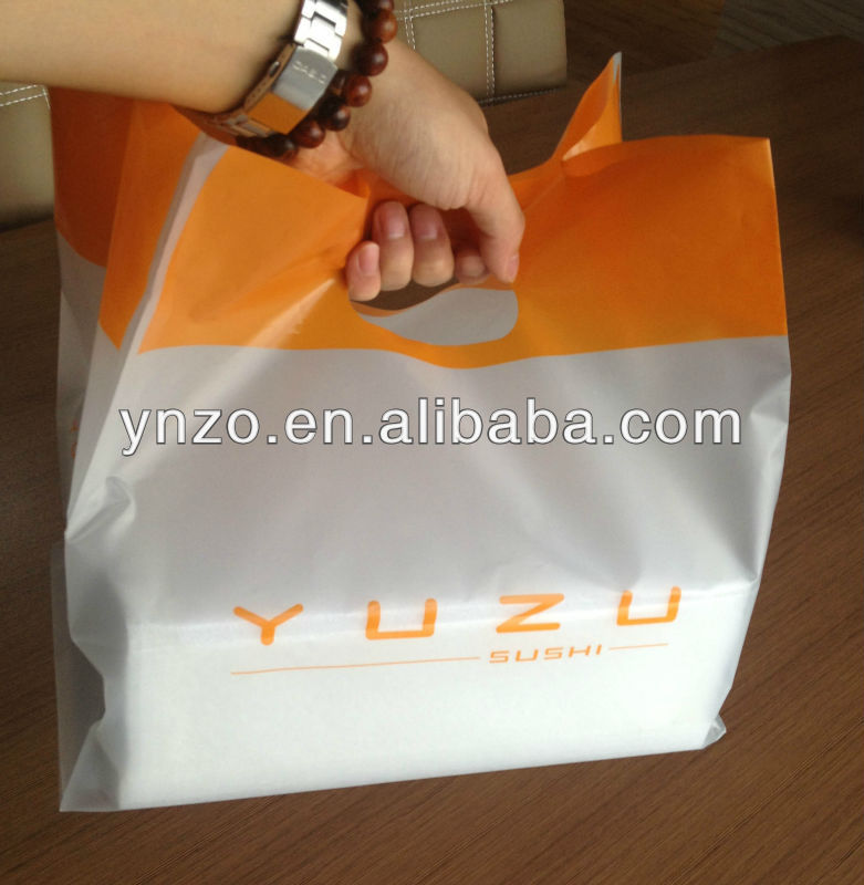 Bottom square plastic handle bag