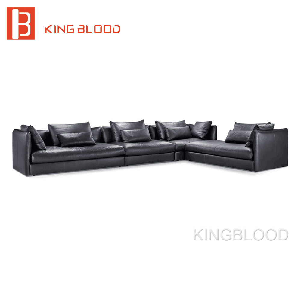 Italy 7 Seater Big Sectional Couch Black Pure Genuine Leather Corner ...