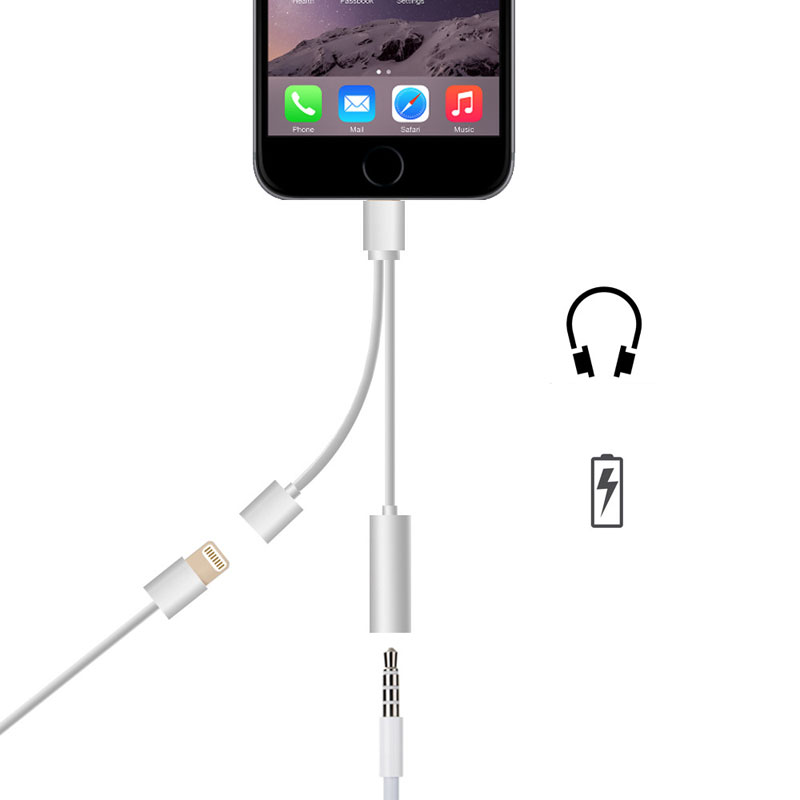 Newest lightn splitter 3.5MM Headphone Headset Charger Earphone <strong>Cable</strong> 2 in 1 Charging Audio Adapter For iPhone 7 7 Plus