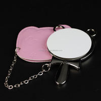 Round Shape Blank Sublimation Small Metal Craft Hand Cosmetic Vanity Makeup Compact Decorative Pocket Mirror
