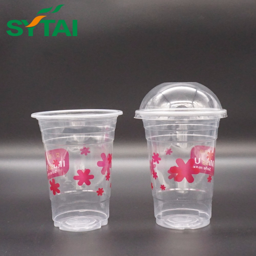 Hot selling disposable transparent twin couple juice plastic cup