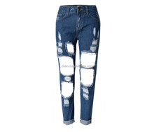 Women denim ripped trousers new fashion latest design jeans pants for girl