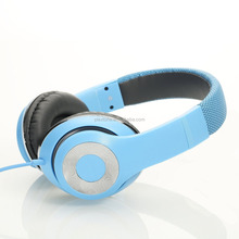 Sky blue colorful fashion street cheap Lightweght wire Over-Ear HD stereo headset Soft leather ear cups with In-line Mic