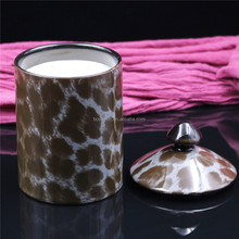 leopart printing luxury soy wax scented candle with lid