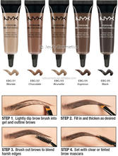 Waterproof Eyebrow Gel With Angled brow Spoolie brush 5 Colors ebg Brunette Chocolate Blonde Espresso