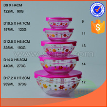 hotsale 5pc glass container good bowl set with PP cap