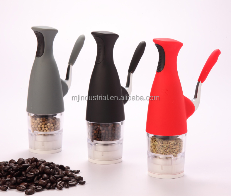Manual Salt & Pepper Mill, One-hand Operated, Wine Pot Design, Adjustable White Ceramic Burrs (MJ09-G)