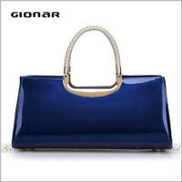 Chic Elegant Long Term Lady Clutch Patent Leather Cooler European Tote Bag Blank