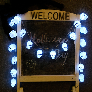 High Quality Home Decoration10Led Cold White Halloween Skull Lights