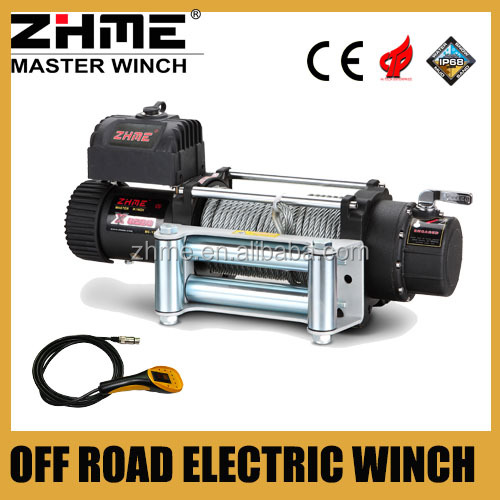 8288lbs 12 volt fast line speed electric winch with wire rope