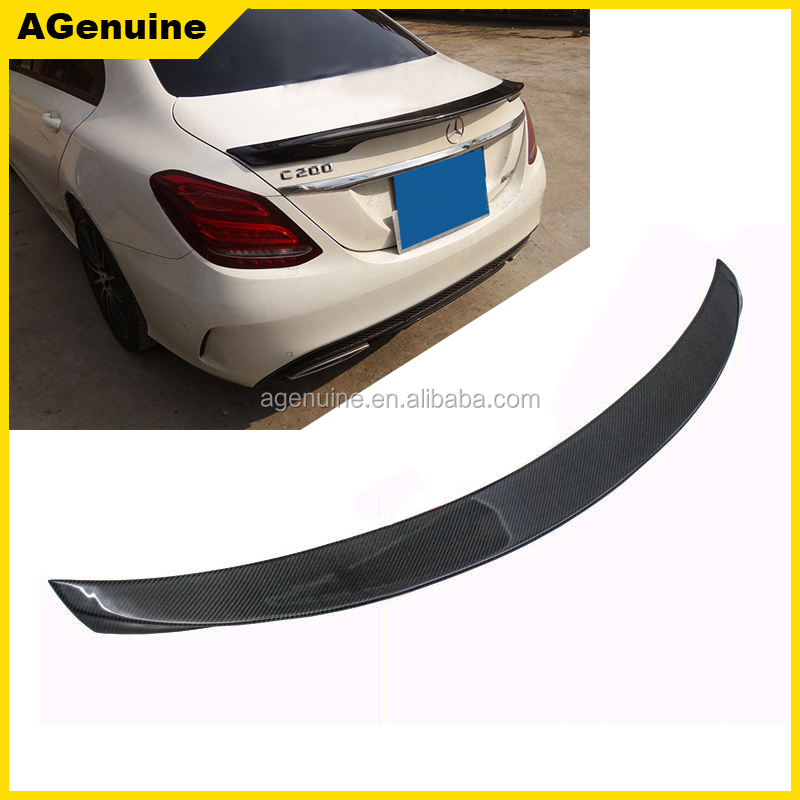 Custom Carlson high polish real carbon fiber rear trunk lip spoiler wing for Mercedes-Benz <strong>C</strong> class W205