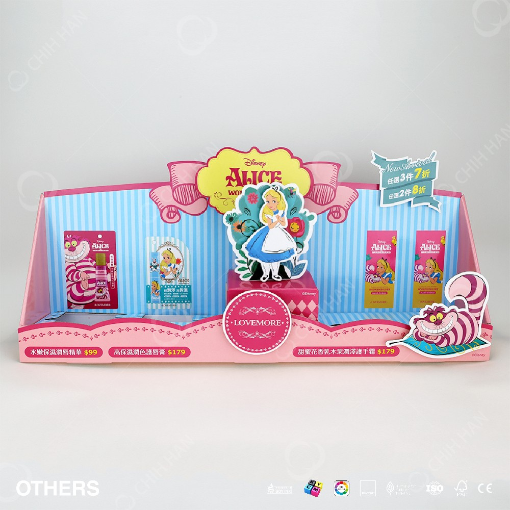 2016 Lovely Carton Illustration Folded Counter Display Box