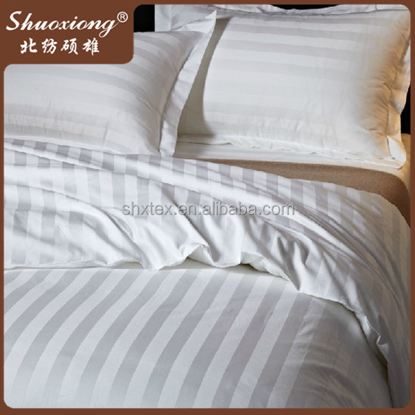 100% cotton 1cm stripe white cotton fabric for hotel bedding set