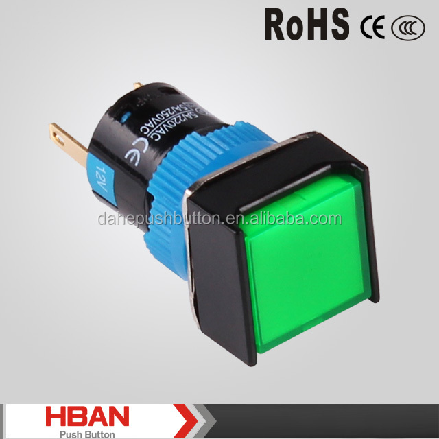 CE ROHS HBS1-AF Series ( 16mm) NO NC led lamp ,selector ,key,latching or momentary plastic push button switch