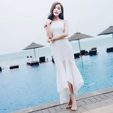 Backless dress spaghetti strap maxi dress beach wedding long frock for women