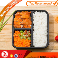 Plastic food meal prep bento disposable container 3-Compartment Microwave safe container with lid