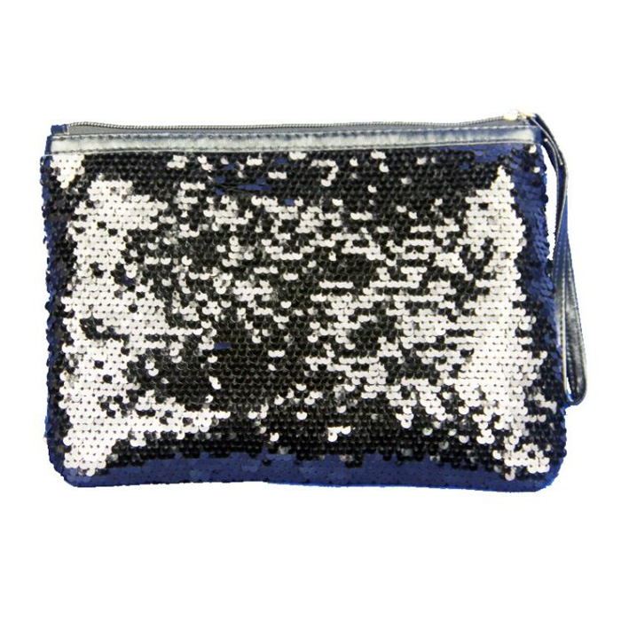 plastic zipper personalized pattern printed sequin pencil case