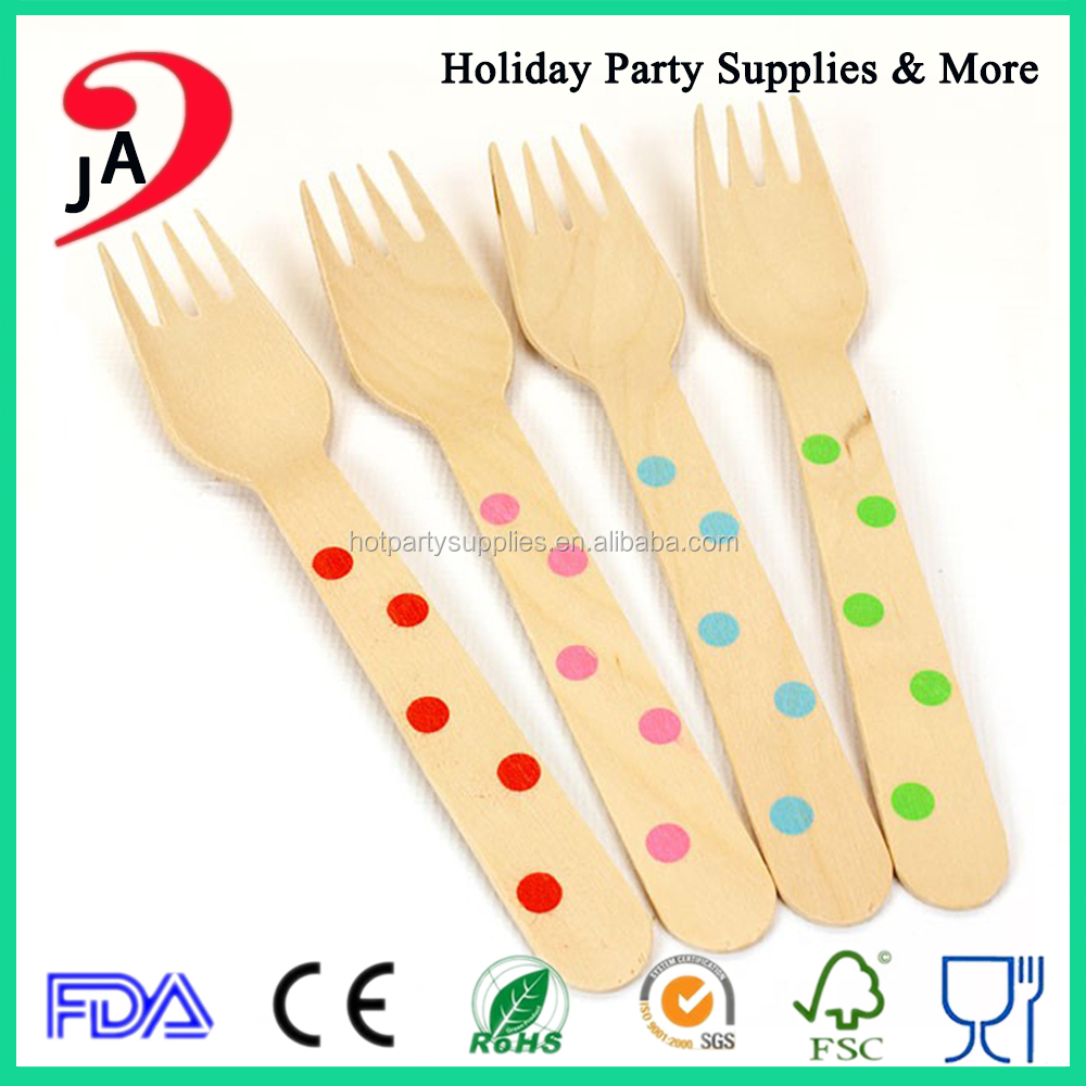 Top Quality Colorful Wedding/Birthday Party Wooden Biodegradable Disposable Cutlery