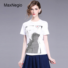 Maxnegio 2018 Women Short Slim Fit Ladies T Shirt Three-dimensional Print Design Guangzhou