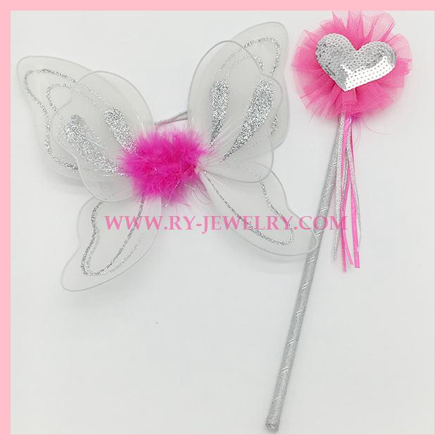 MINI White Butterfly wing with sequin heart wand set