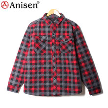 wholesale clothing manufacturer oem service winter outdoor quilted padded plaids men's coat plaid check shirt