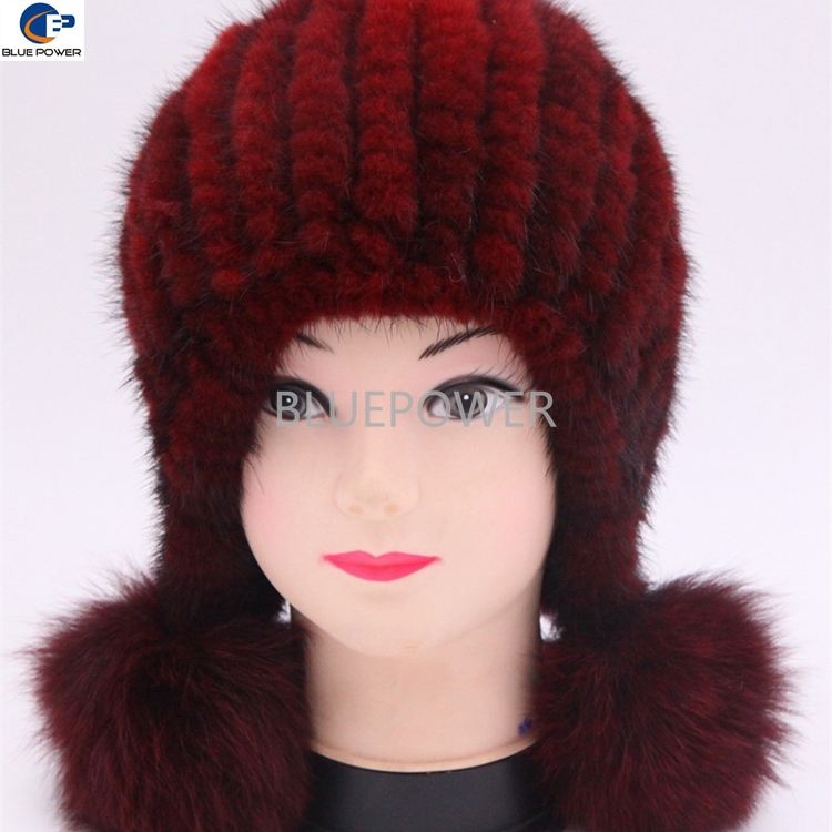 Sweet lovely wine red mink fur knitted girls earflap hat with pom pomsTD1760