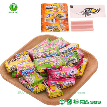 5G(4CM)tutti-frutti flavor bubble gum with tattoo:200pcs-per box