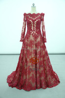 Zuhair Murad Dresses Price Red Carpet Long Sleeve Lace Celebrity Dress HMY-D170 Real Model