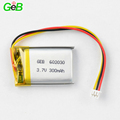 Professional rechargeable 300mAh 602030 3.7V lihtium polymer battery with Certificate