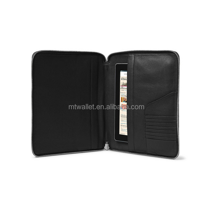 Zip fastening Internal tablet sleeve Leather portfolio with document and card slots
